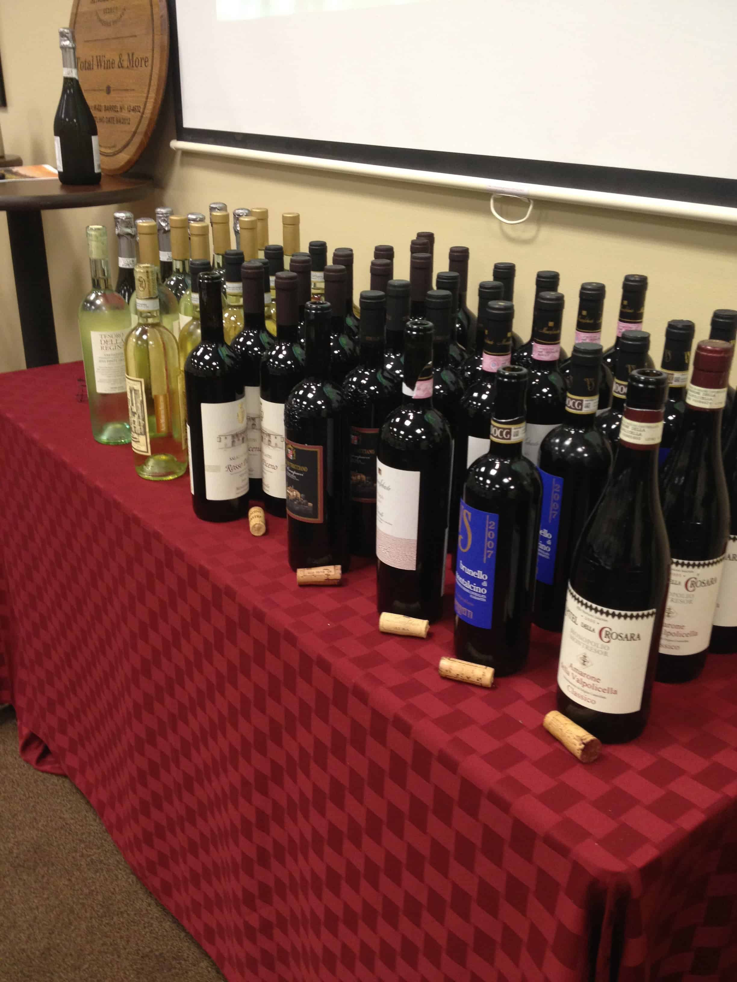 A Tour of Italy Wine Class at Total Wine