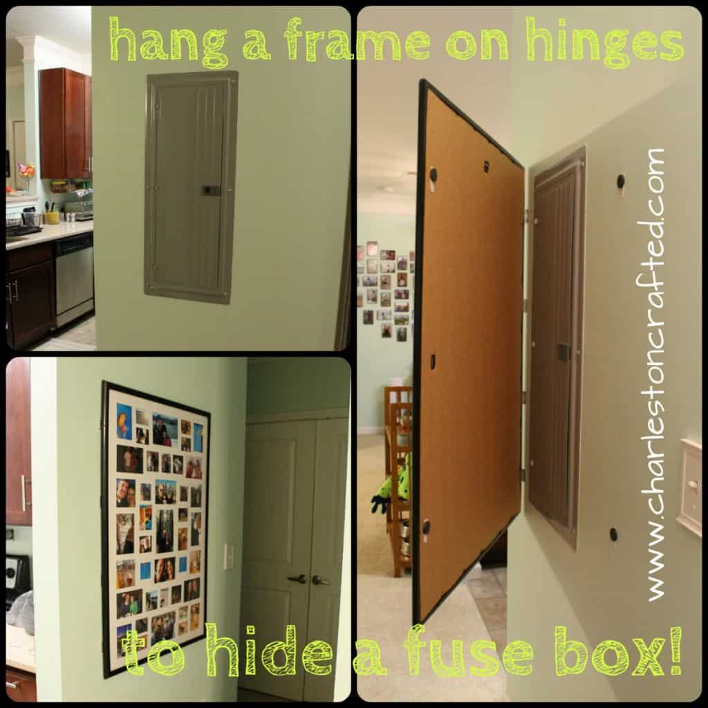 How to Hide a Fuse Box By Hanging a Frame on Hinges - Charleston Crafted