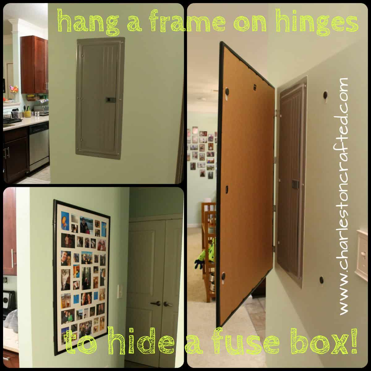 How to Hide a Fuse Box By Hanging a Frame on Hinges Charleston Crafted now you see it, now you don't \u2022 charleston crafted cabinets to cover fuse boxes at fashall.co