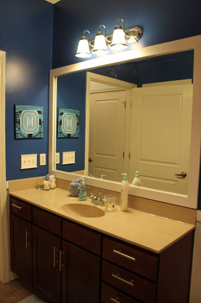 Frame a bathroom mirror - Charleston Crafted