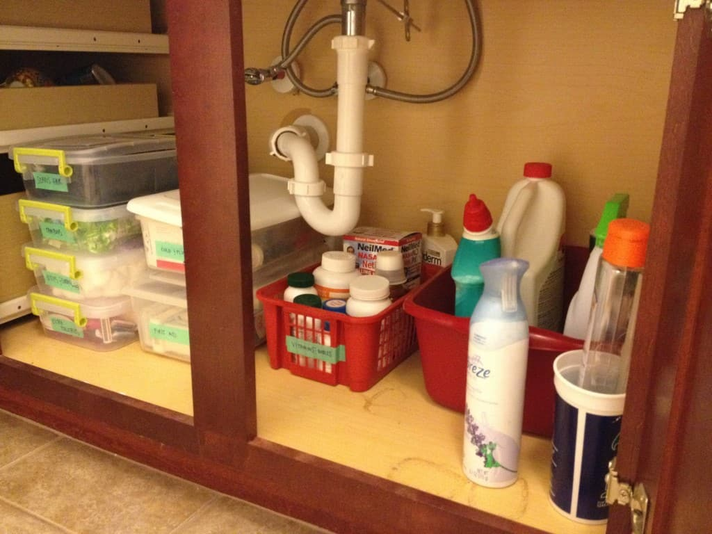 Organize under the bathroom sink - charleston crafted