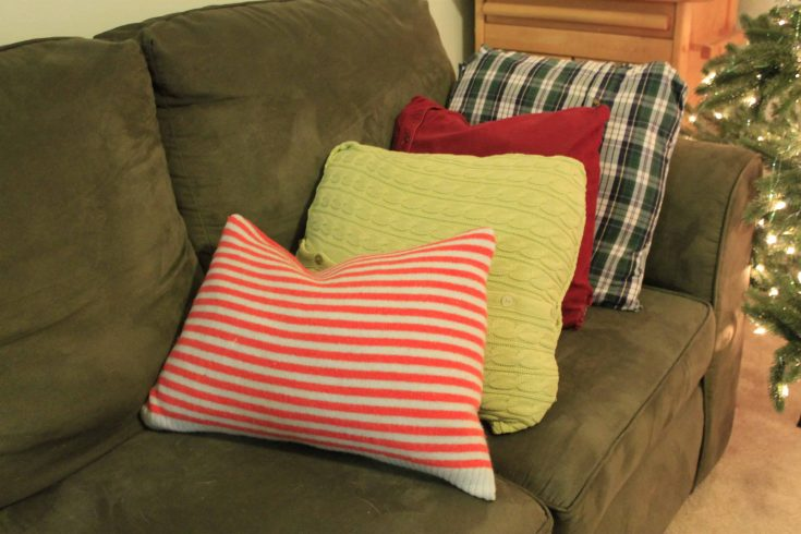 How to make no sew sweater pillows