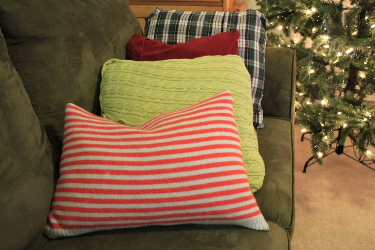 No Sew Winter Pillow Covers from Sweaters and Flannels!
