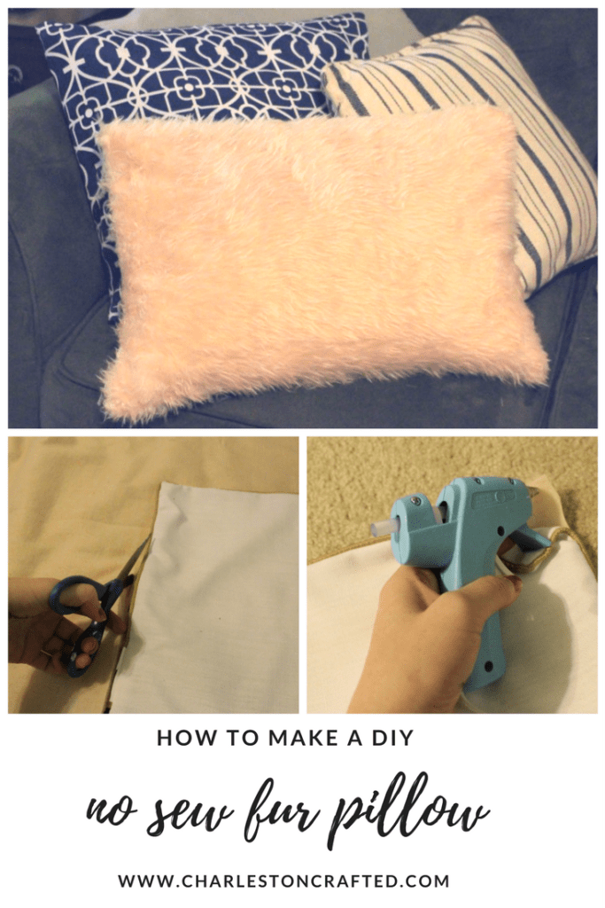 How to Make a DIY no sew fur pillow - via Charleston Crafted