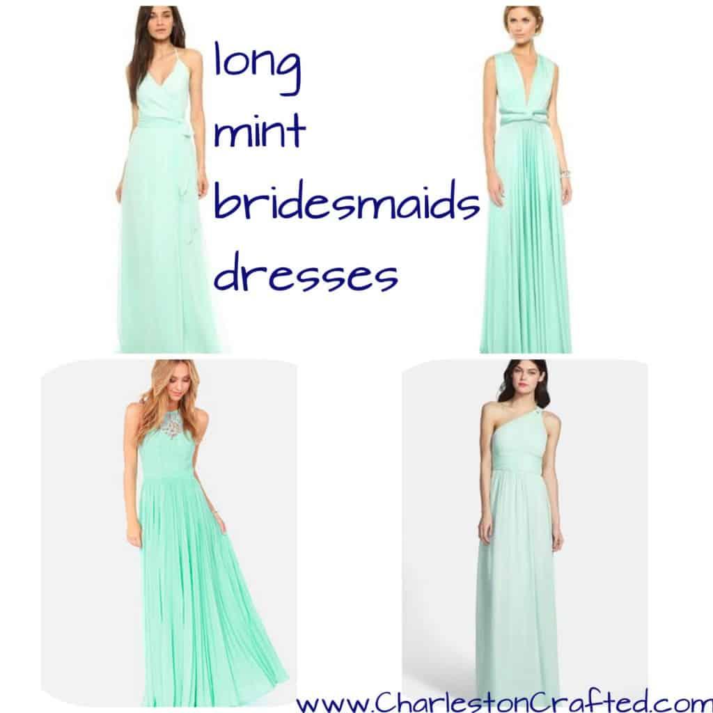 Long Mint Bridesmaids Dresses