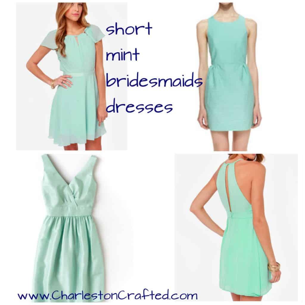 Short Mint Bridesmaids Dresses