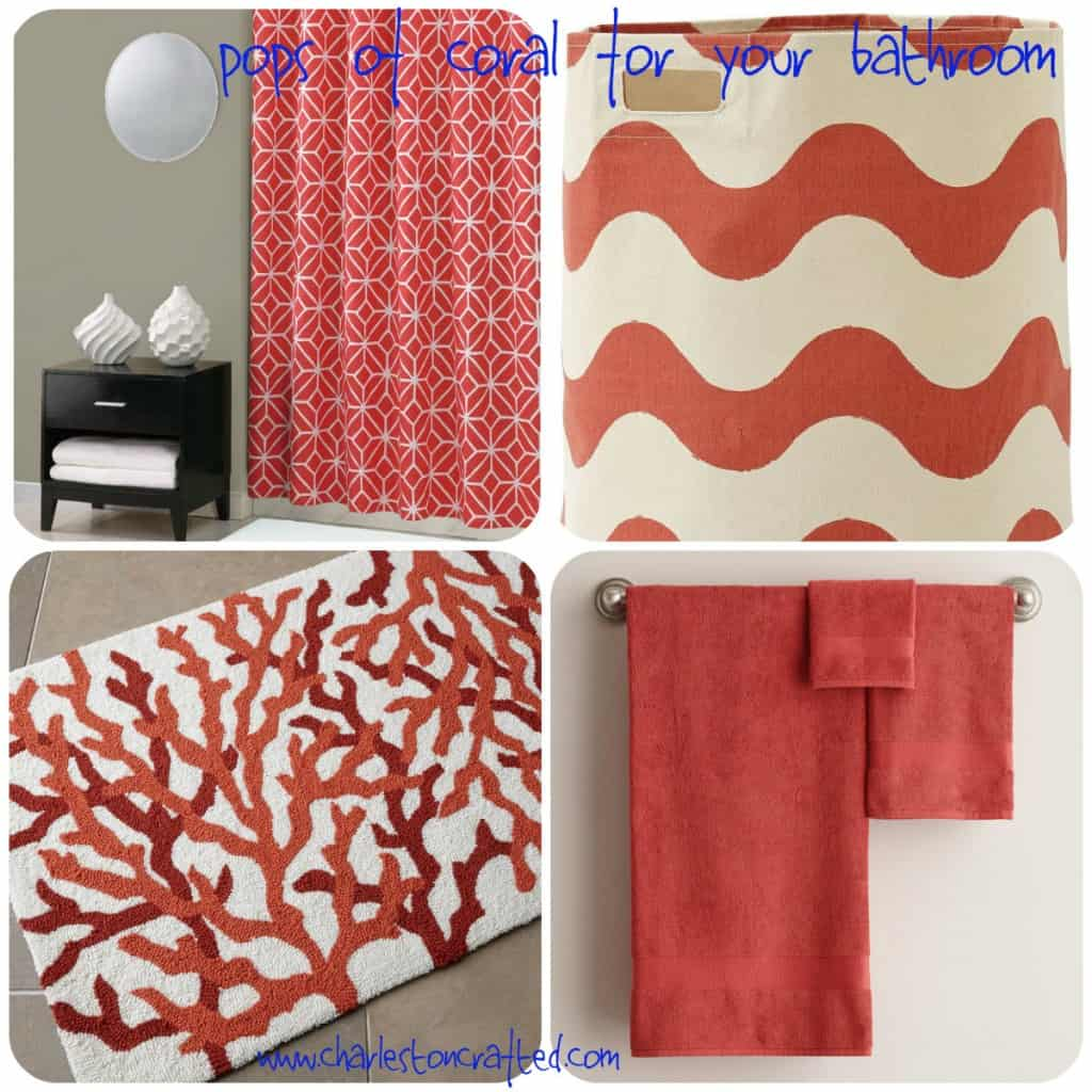 Pops of Coral for your Bathroom - Charleston Crafted