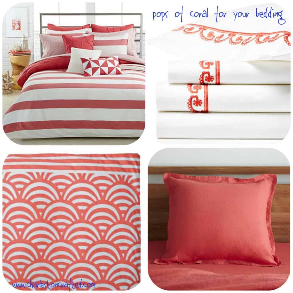 Pops of Coral for your Bedding - Charleston Crafted
