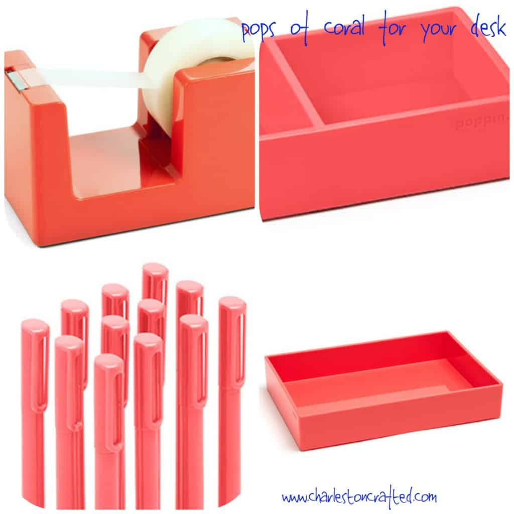 Pops of Coral for your Desk - Charleston Crafted
