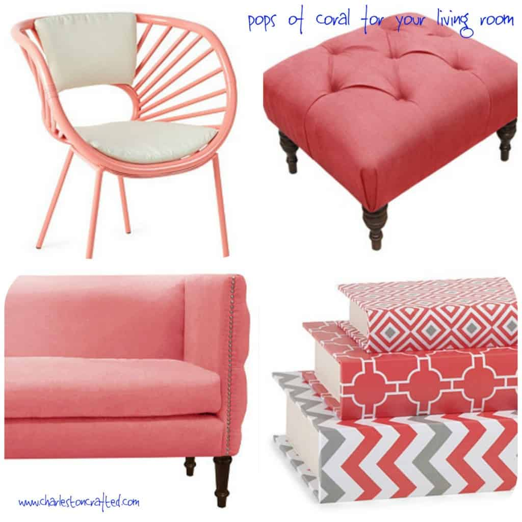 Pops of Coral for your Living Room - Charleston Crafted