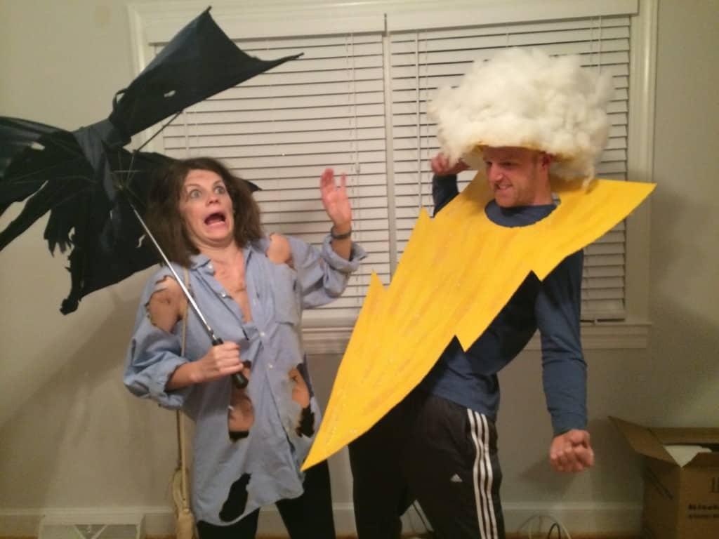 DIY Lightening Bolt and Strike Victim Halloween Couples Costume - Charleston Crafted