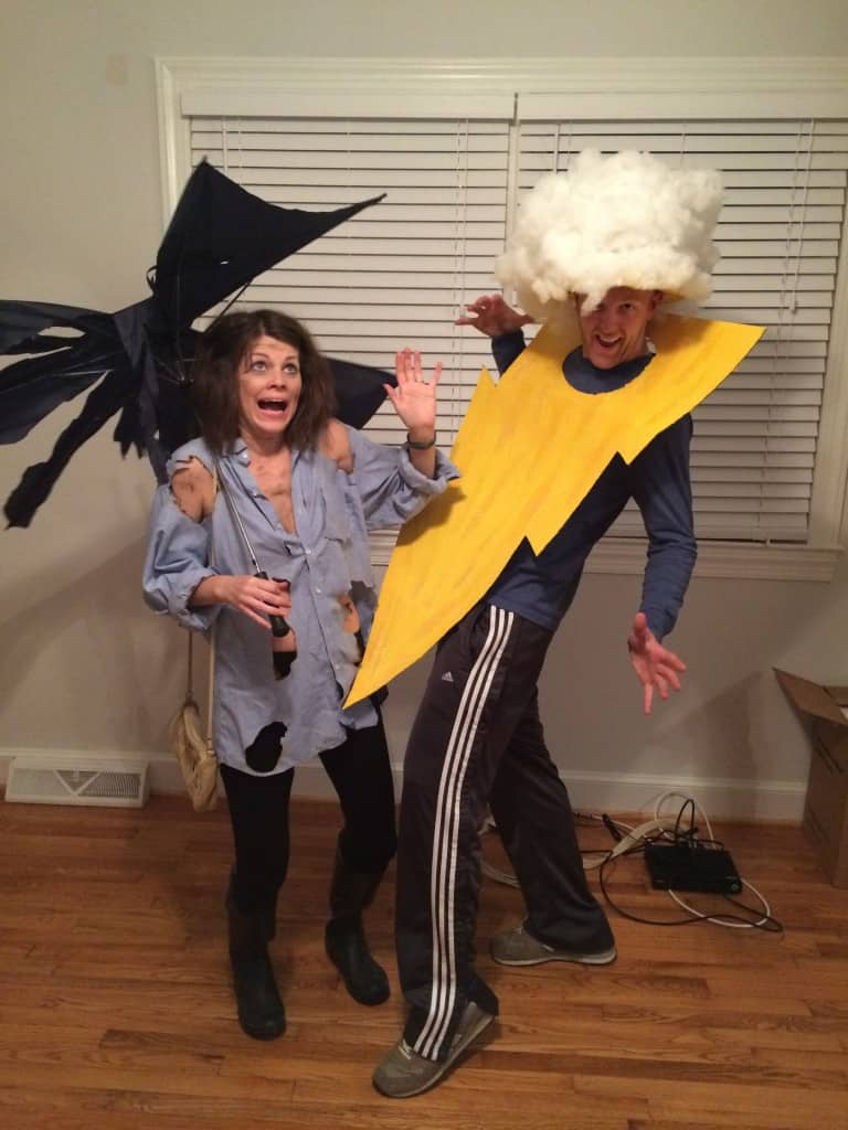 DIY Lightening Bolt and Strike Victim Halloween Couples Costume - Charleston Crafted
