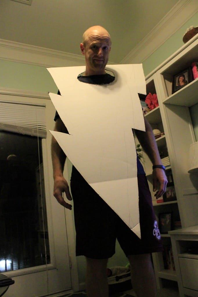DIY Lightning Bolt and Strike Victim Halloween Couples Costume - Charleston Crafted