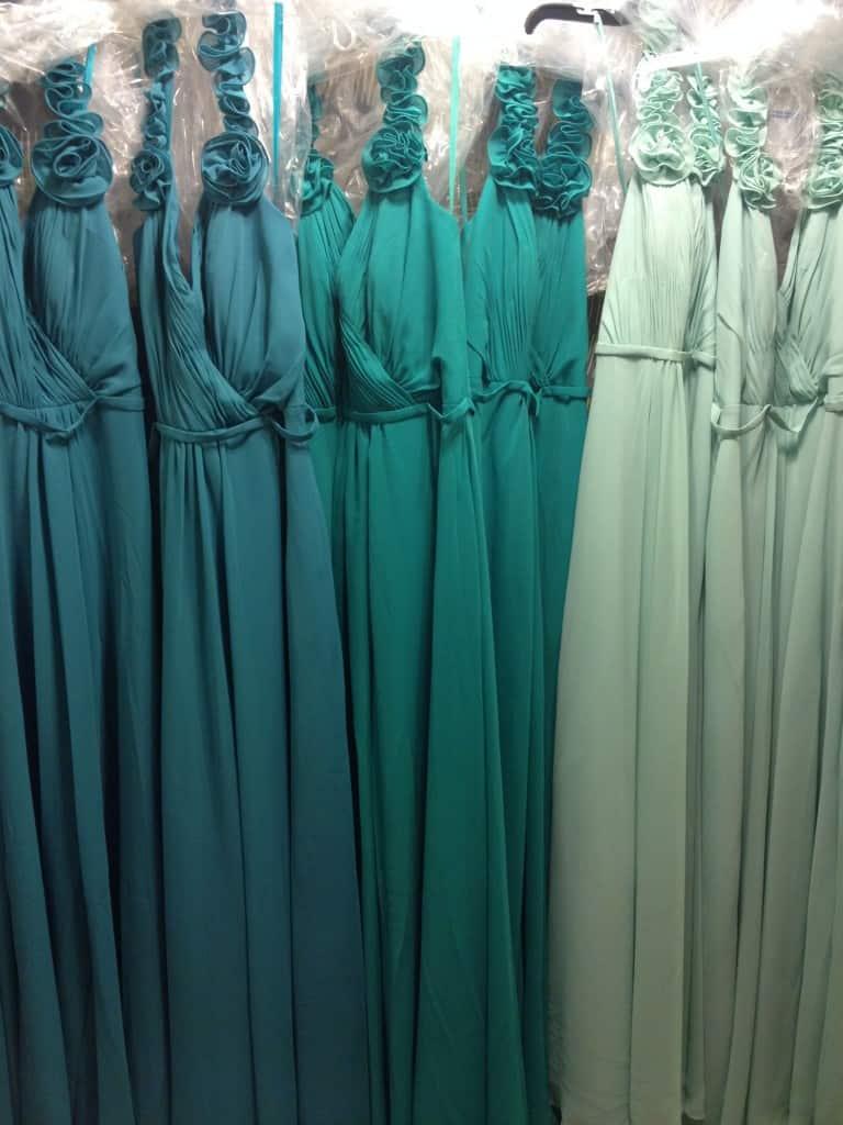 Shades of Teal Bridesmaid Dresses - Charleston Crafted
