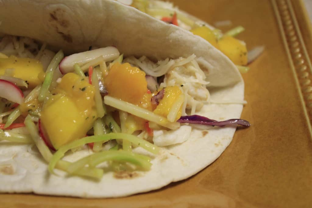 Tilapia Tacos with Mango Broccoli Slaw - Charleston Crafted