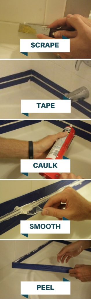 Step by step directions on how to replace caulk in bathroom tile simple easy DIY - Charleston Crafted