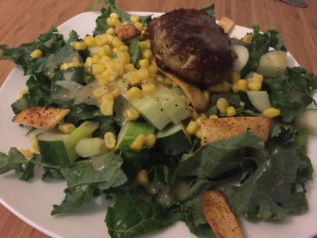Kale Crab cake salad - Charleston Crafted