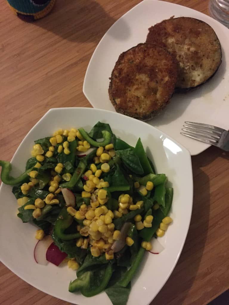Pan Fried Eggplant and a side salad - Charleston Crafted