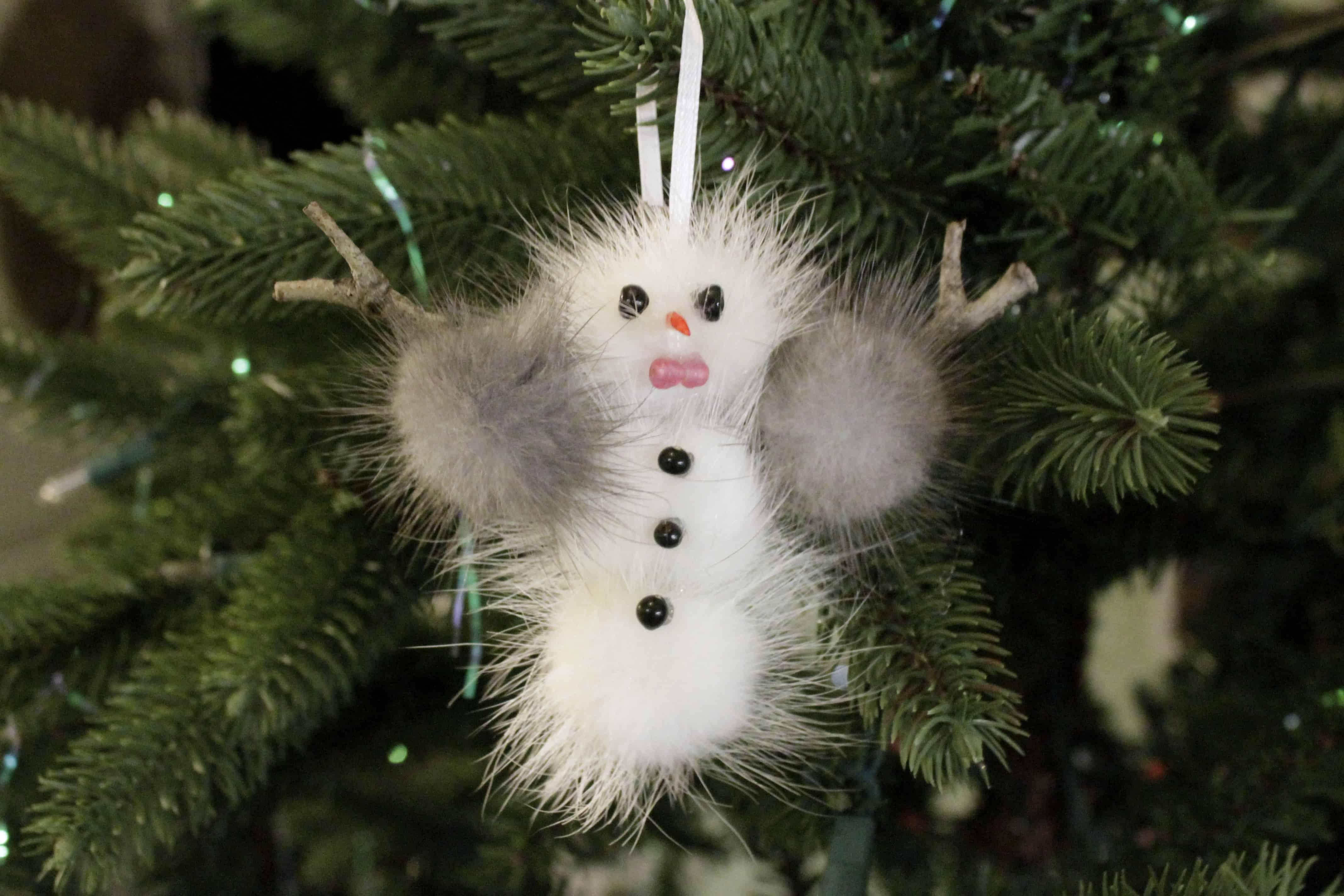 DIY Mink Snowman Ornament