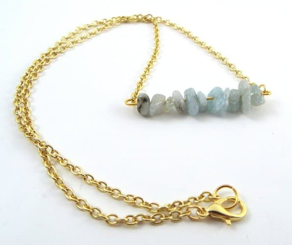 aquamarine chip bar necklace