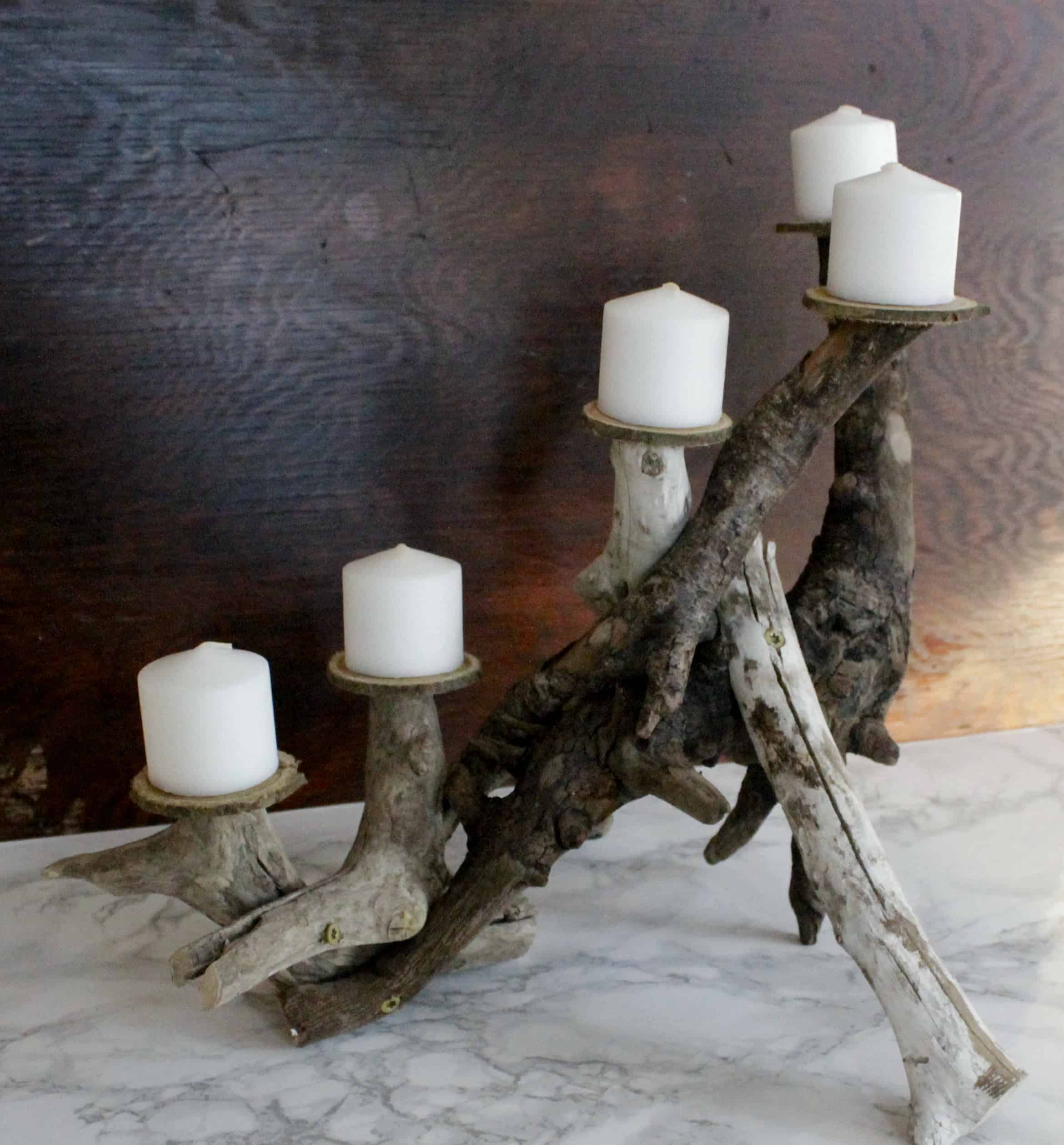 DIY Driftwood Candle Centerpiece