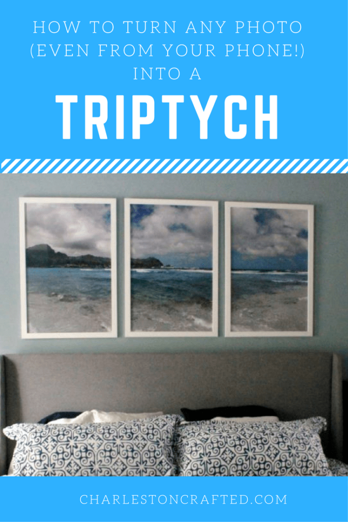 how to DIY turn any photo - even one from your phone - into a triptych and a great inexpensive large white frame resource - charleston crafted