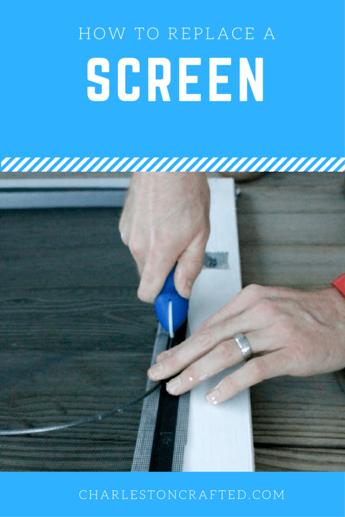 how to replace a screen on a screened door or window - super simple way to repair screens after your dog rips them! Charleston Crafted
