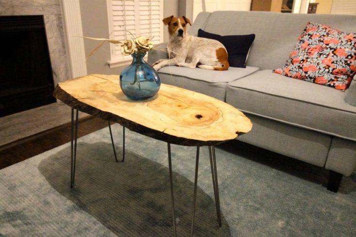 DIY Live Edge Wood Slab Coffee Table