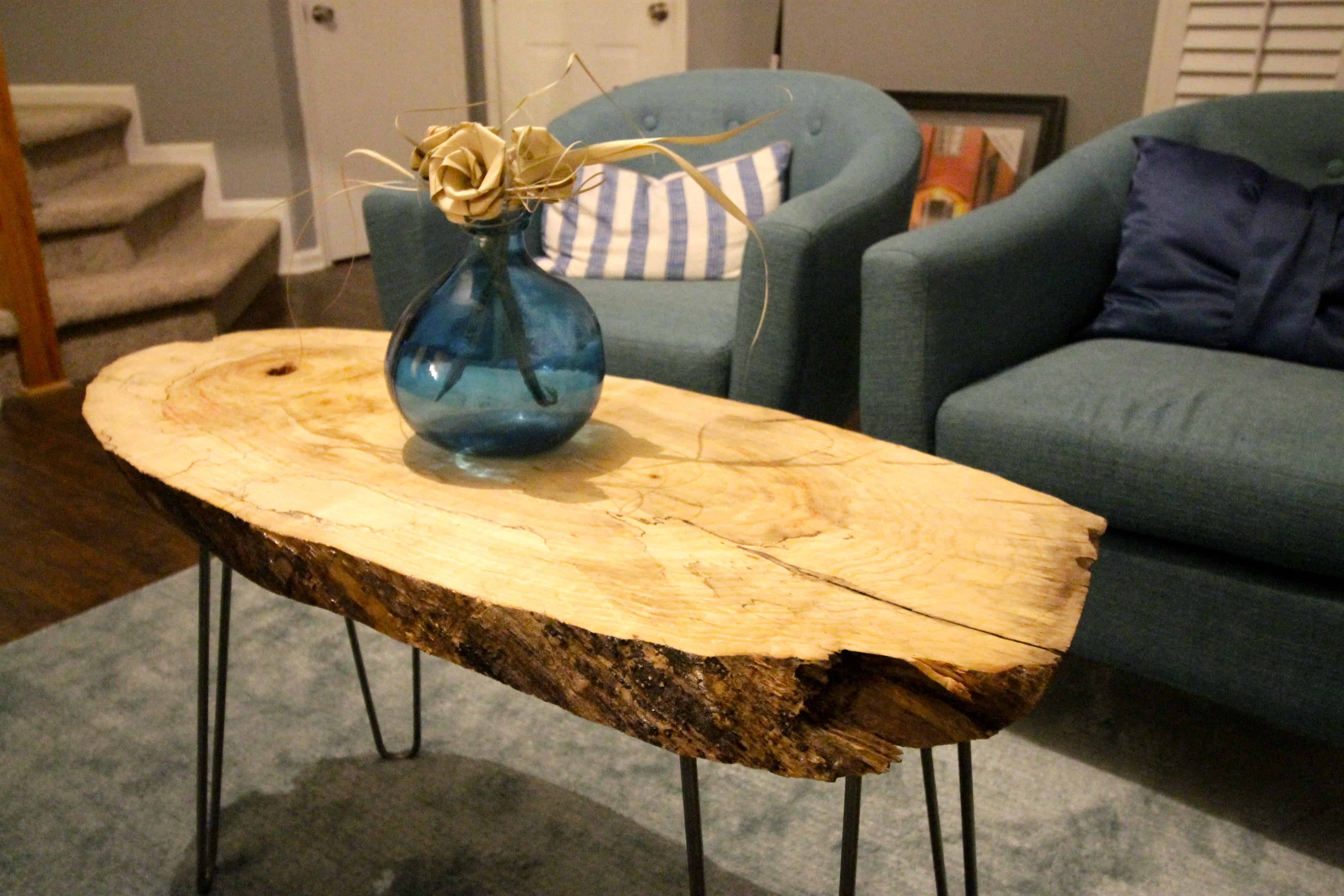 Delicieux DIY Live Edge Wood Slab Coffee Table