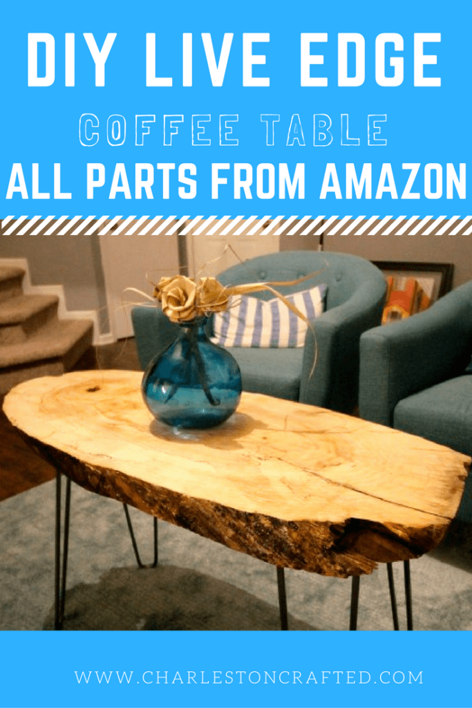 DIY Live Edge Slab Coffee Table Tutorial with all parts available from Amazon Prime! What a beautiful and inexpensive statement piece! CharlestonCrafted