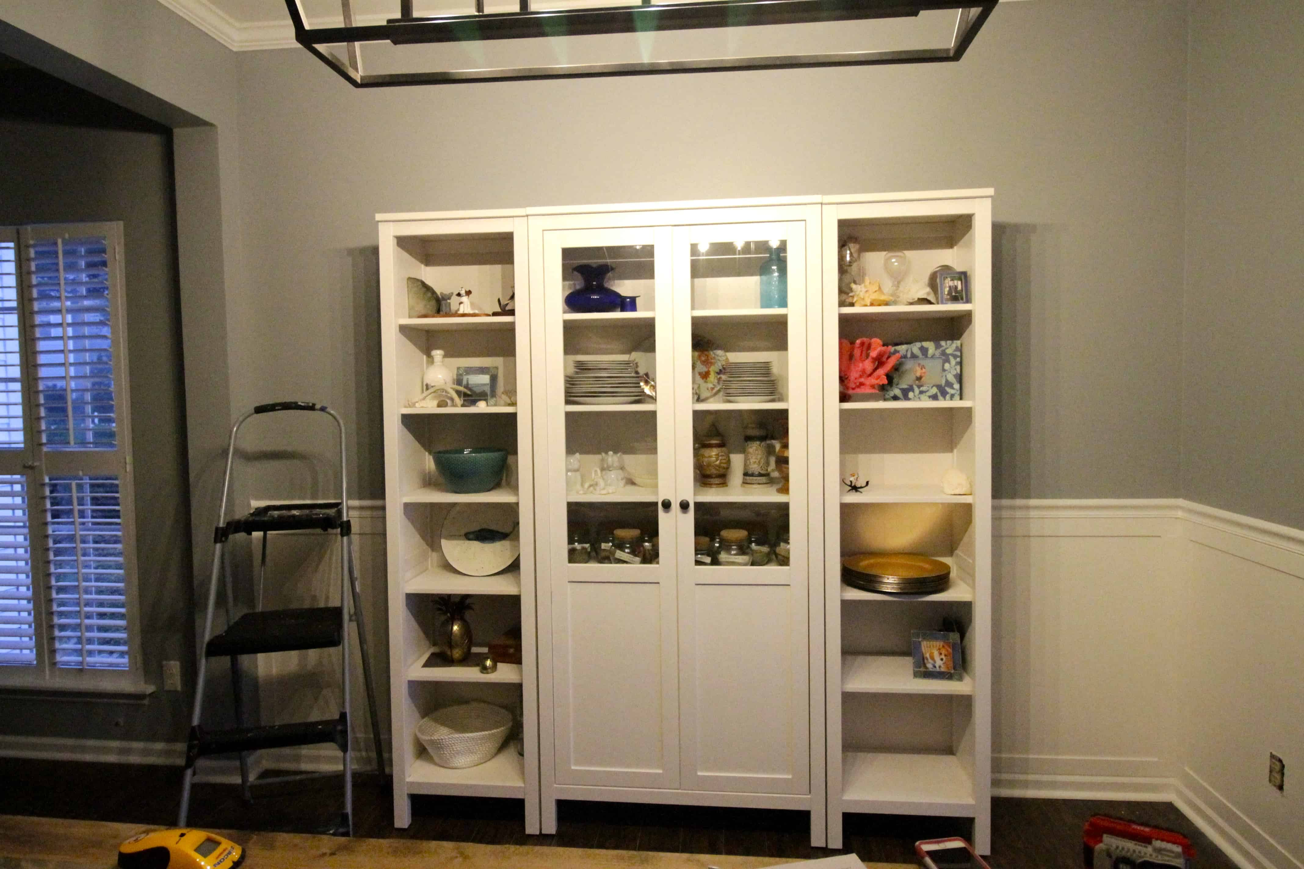 Our New China Cabinet Set Up Ikea Hemnes Glass Door Charleston Crafted