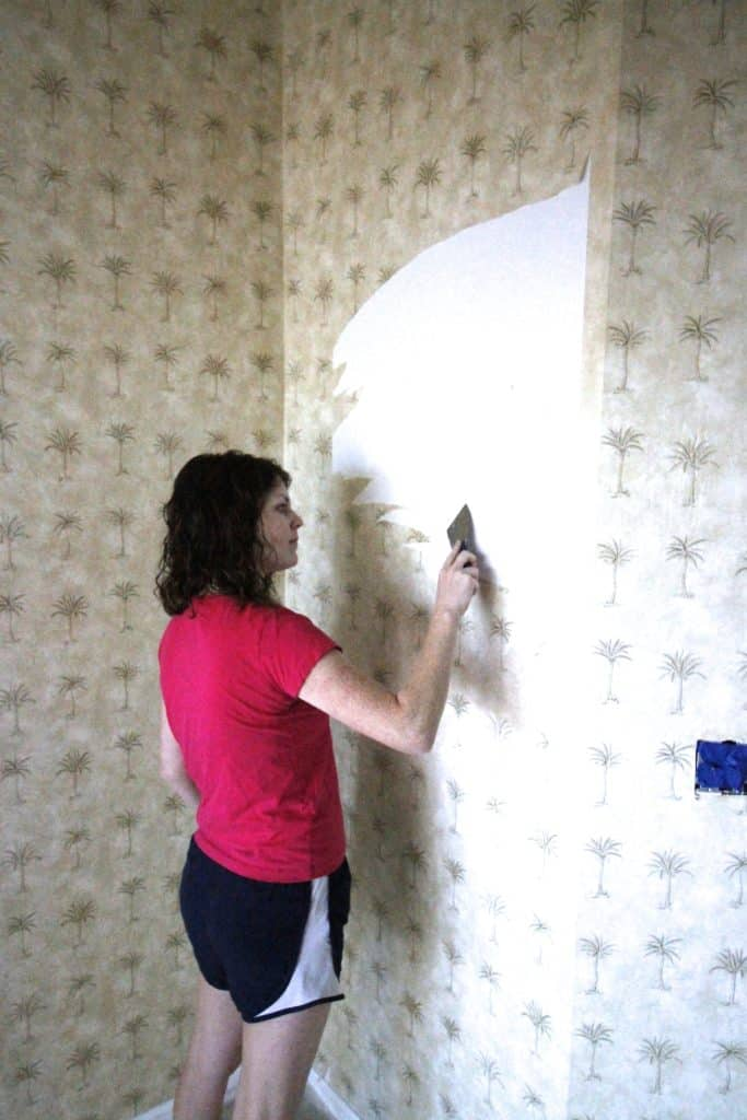 Our Experience Removing Wallpaper - How to DIY Remove Wall Paper - Charleston Crafted