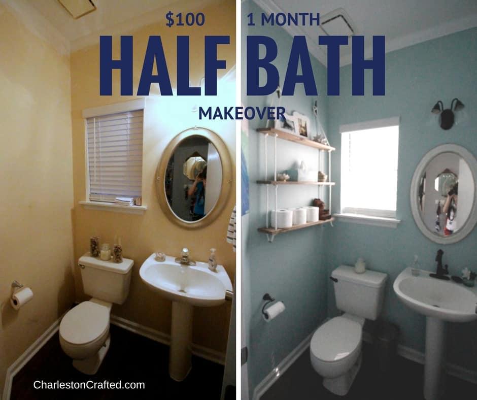 $100 1 Month Coastal Half Bathroom Makeover - Charleston Crafted