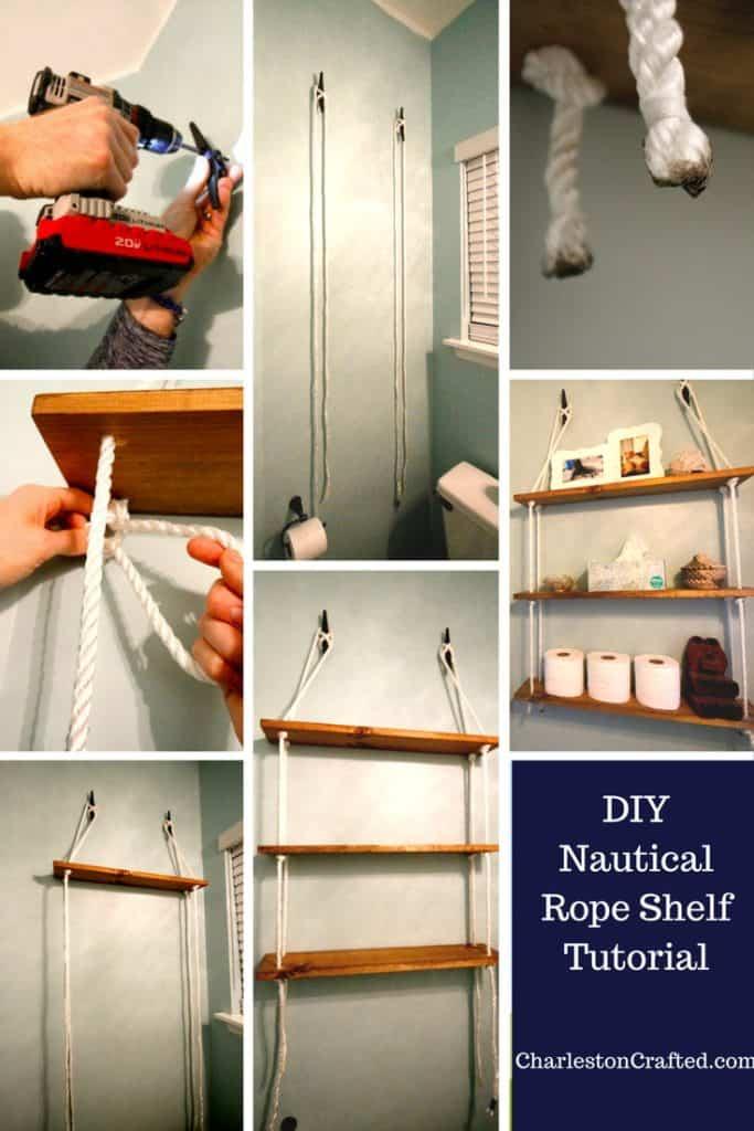 DIY Nautical Rope Shelving Tutorial - Charleston Crafted
