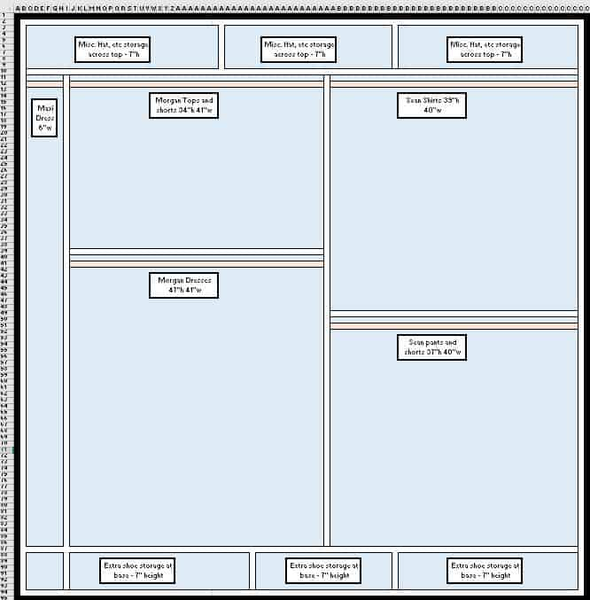 ORC: How to Design a Closet Organization System in Microsoft Excel - Charleston Crafted