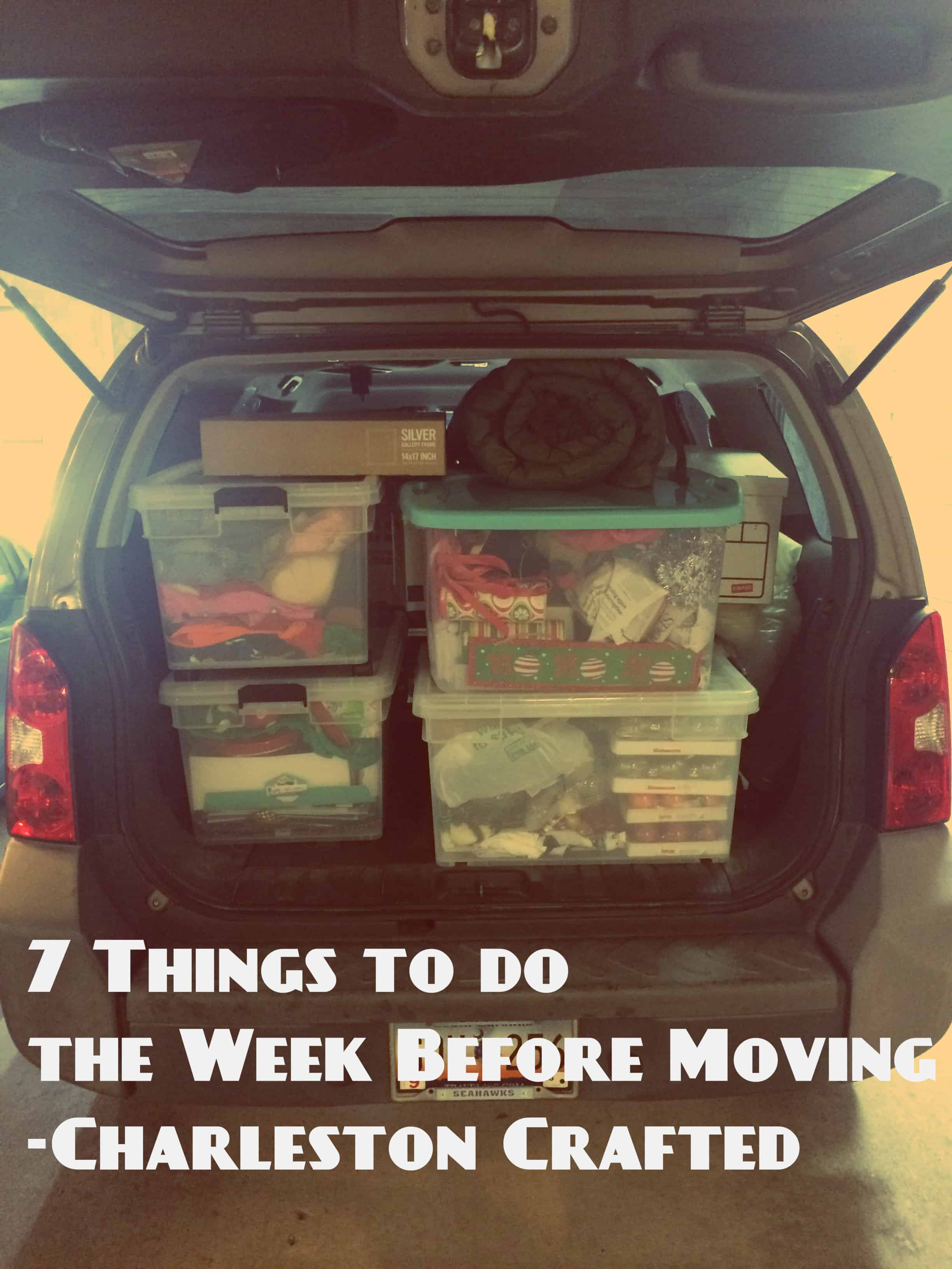 7 things to do the week before moving charleston crafted. Black Bedroom Furniture Sets. Home Design Ideas