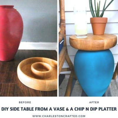 Upcycling a Vase & Chips and Salsa Tray into a Porch Side Table