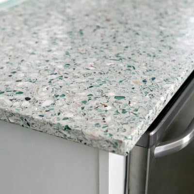 One Year with our Recycled Glass & Oyster Shell Countertops