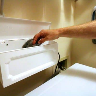 DIY Wall Mounted Laundry Room Trash Can Hack