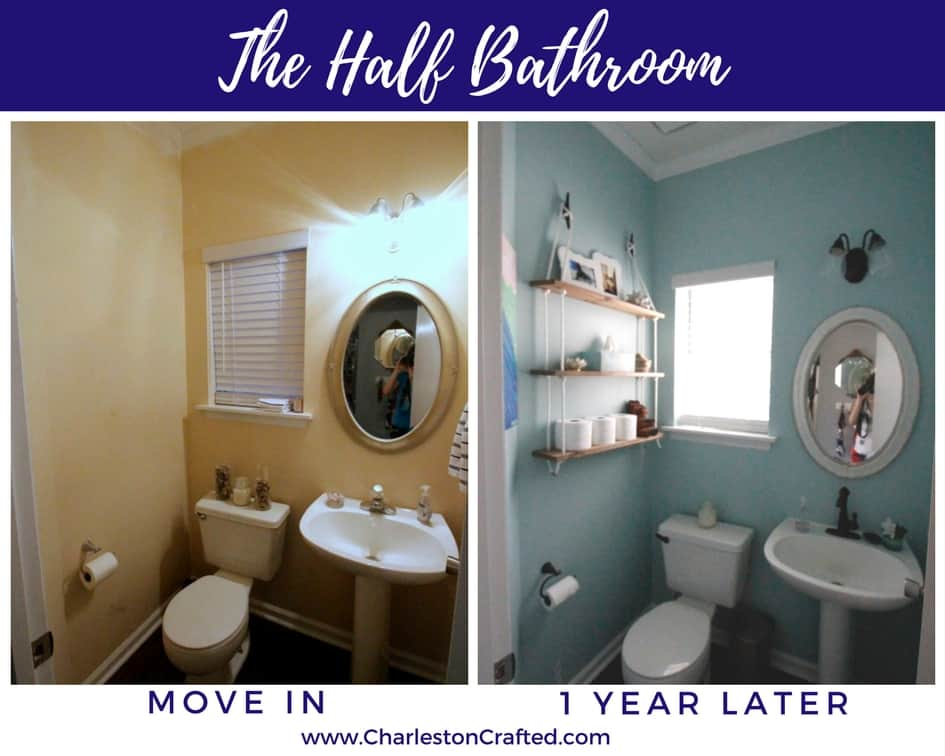 Half Bathroom at move in and one year later - Charleston Crafted