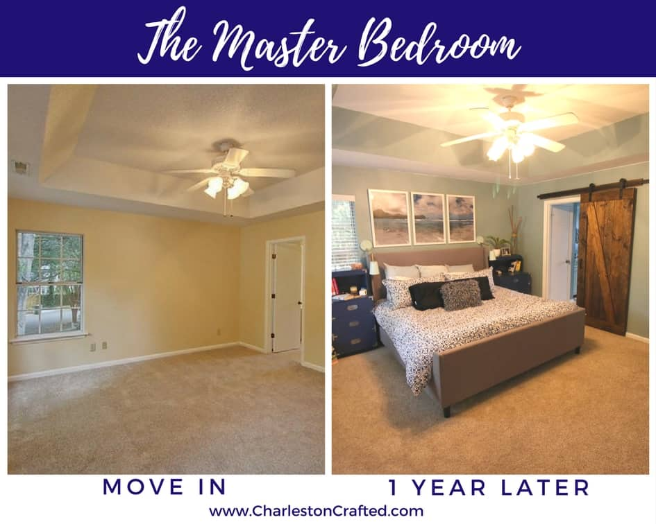 master bedroom at move in and one year later - Charleston Crafted