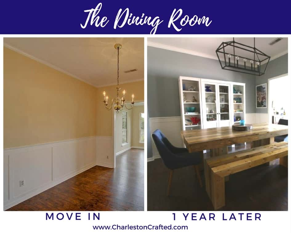 room at move in and one year later - Charleston Crafted