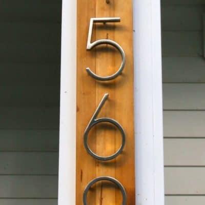 DIY Modern Metal & Wood Address Sign