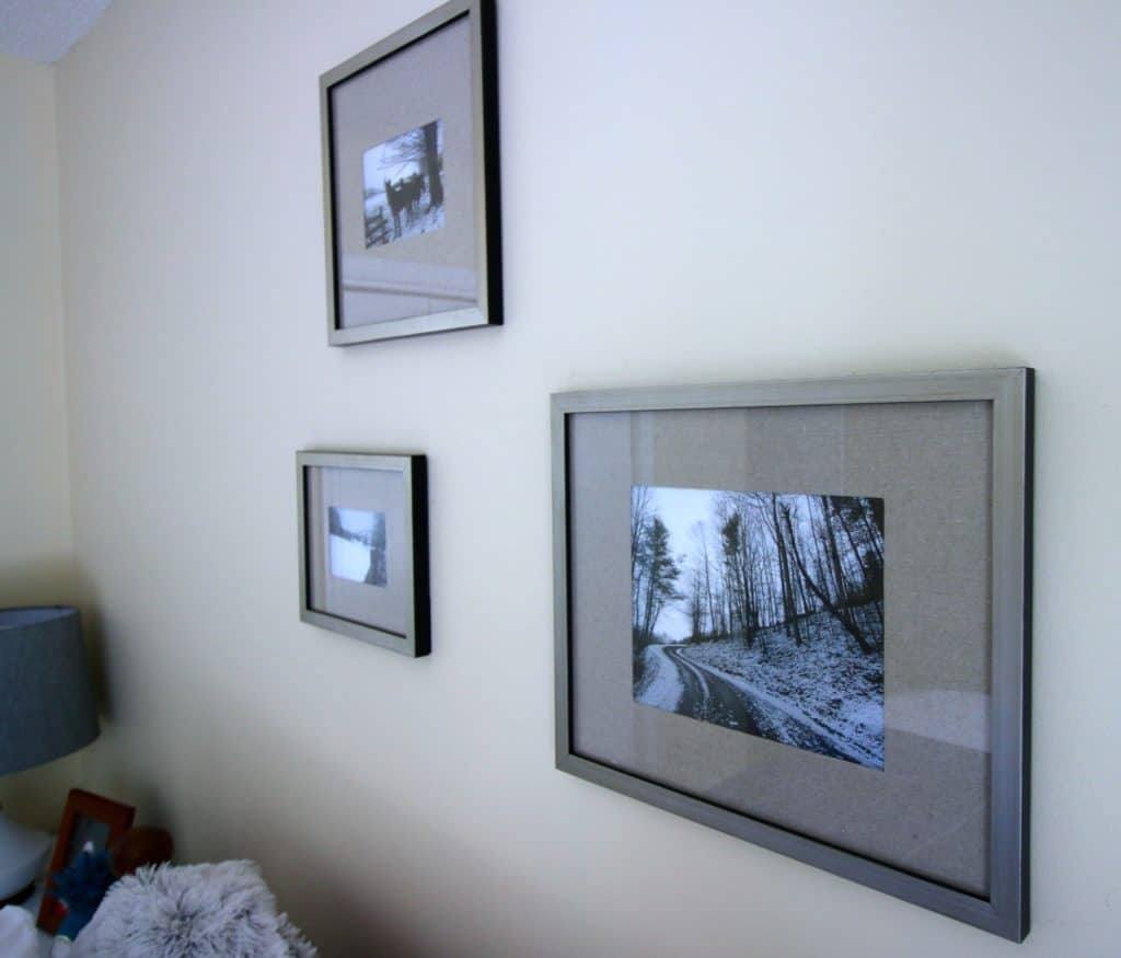 Mini gallery wall in the guest bedroom - Charleston Crafted