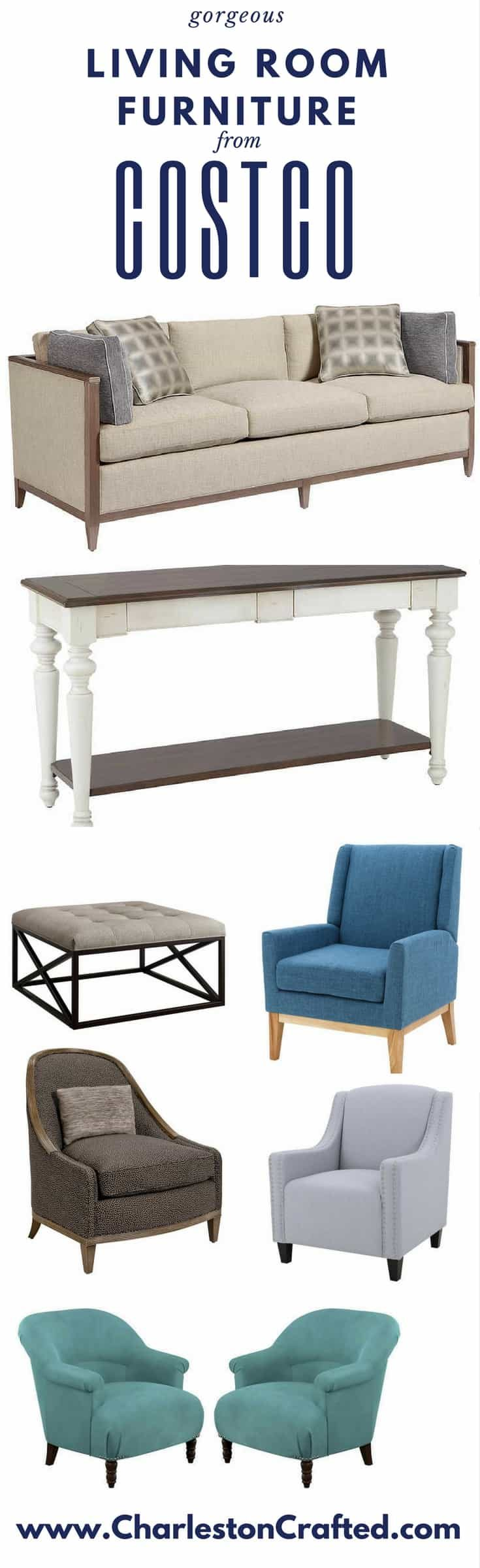 Gorgeous Living Room Furniture that you wouldn't believe came from COSTCO! via Charleston Crafted