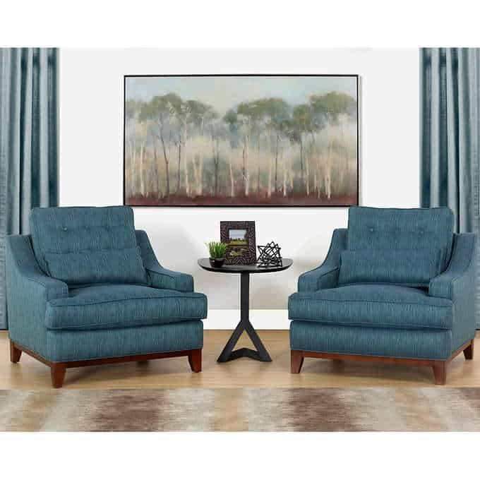 saint rhean chairs - Gorgeous Living Room Furniture that you wouldn't believe came from COSTCO! via Charleston Crafted