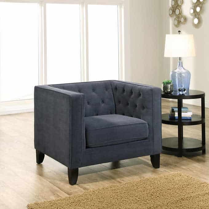 the albany chair - Gorgeous Living Room Furniture that you wouldn't believe came from COSTCO! via Charleston Crafted