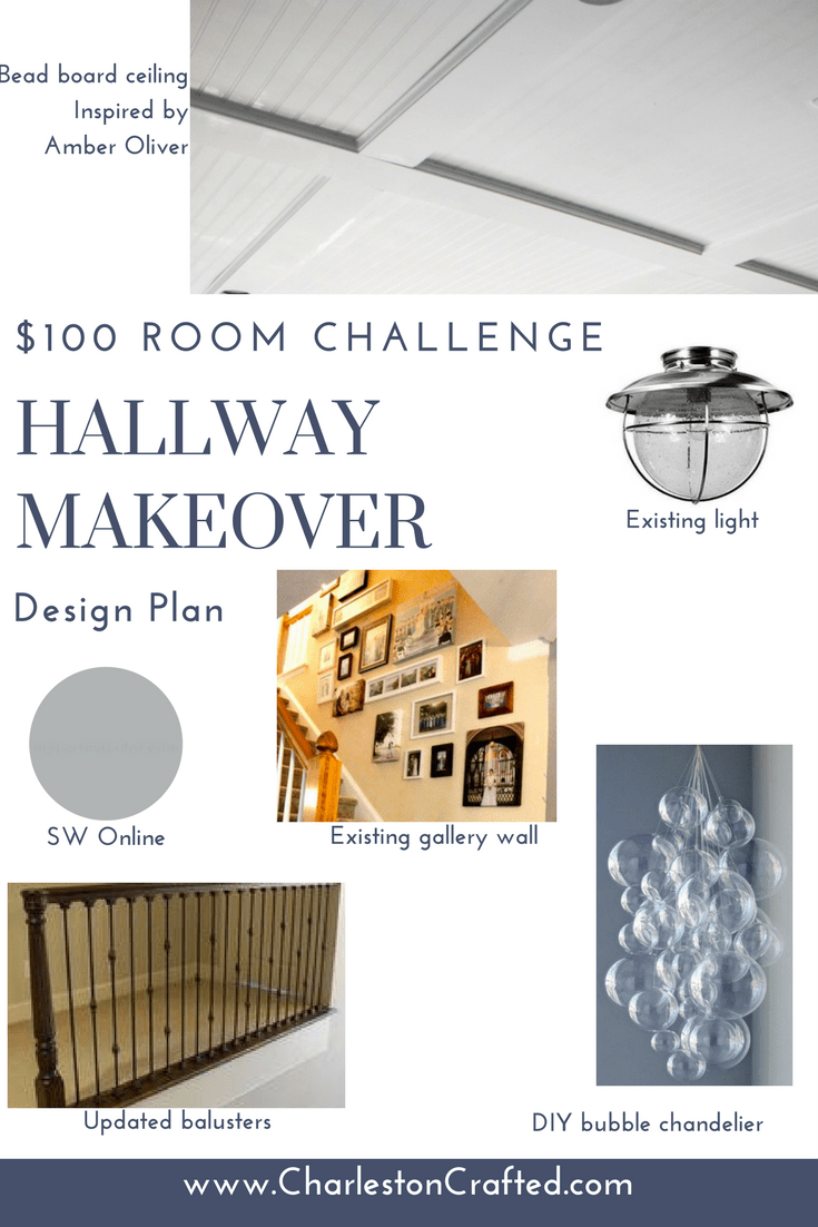 $100 Challenge: Hallway Makeover Design Plan via Charleston Crafted