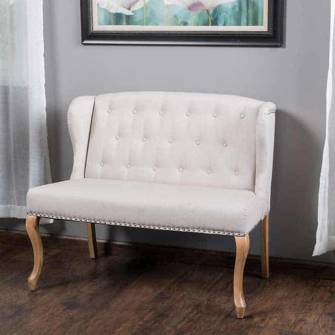 the elise settee - Gorgeous Living Room Furniture that you wouldn't believe came from COSTCO! via Charleston Crafted