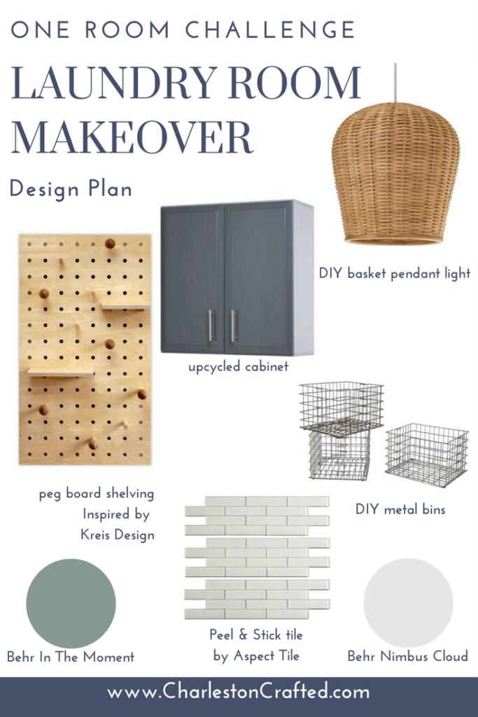 One Room Challenge: Laundry Room Design Plan via Charleston Crafted